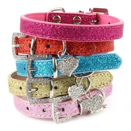 Designer Bling Crystal Pendant Soft Leather Collar for Dog and Cat, red, medium