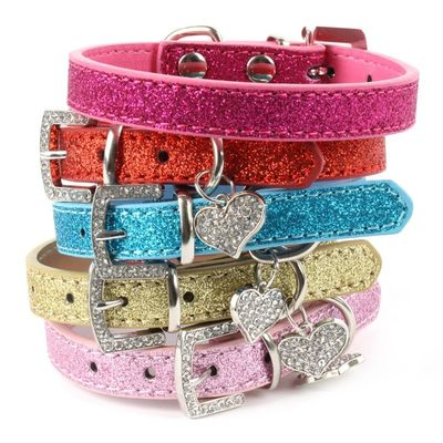 Designer Bling Crystal Pendant Soft Leather Collar for Dog and Cat, light pink, medium