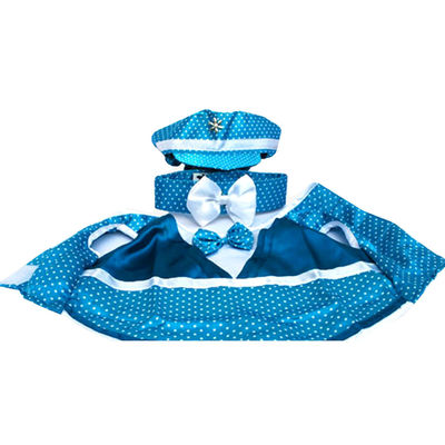 Zorba Designer 3 Piece Party Suit for Toy Breed Dogs, blue, 10 inch