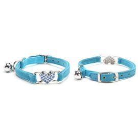 Puppy Love Heart Studded Crystal Rhinestone Velvet Collars for Cats, blue