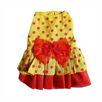 Zorba Shimmering Frock for Cats, yellow with red dots, 8 inch