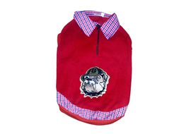 Rays Premium Double Fleece Warm Collar Tshirt for Small Dogs, red bull dog, 16 inch