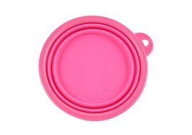Pawz n Clawz Foldable Travel Silicone Pet Bowl, pink