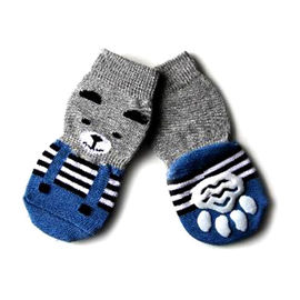 Puppy Love Multi Designs Anti Skid Socks for Small to Medium Breed Dogs, blue teddy, medium