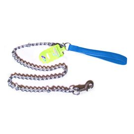 Canine Metal Chain Leash with Padded Nylon Handle, blue, 1 inch
