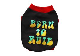 Rays Fleece Warm Born to Rule Rubber Print Tshirt for Toy Breed Dogs, 10 inch, black