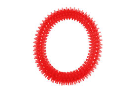 Nunbell Nylon Spiked Play Ring for Dogs and Cats, red, large