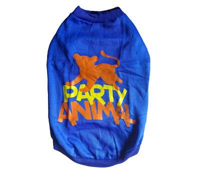 Rays Fleece Warm Rubber Print Tshirt for Medium Dogs, blue, 20 inch