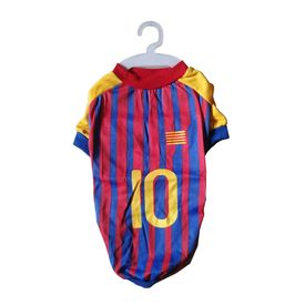 Nunbell Number 10 Soccer Jersey or Tshirt for Small Dogs, 16 inch, red & blue, small