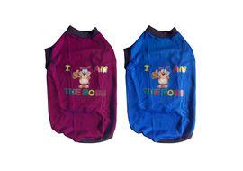 Rays Fleece Warm Rubber Print Tshirt for Large Dogs, 28 inch, blue boss cartoon