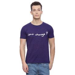 Rees Dark Purple Solid Regular Fit T Shirt, l,  dark purple