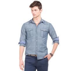 BARRY DK BLUE Slim Fit Printed Shirt,  dk blue, l