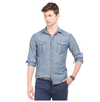 BARRY DK BLUE Slim Fit Printed Shirt,  dk blue, s