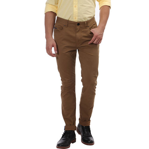 Breakbounce Boma Slim Fit Solid Trousers,  mud brown, 32
