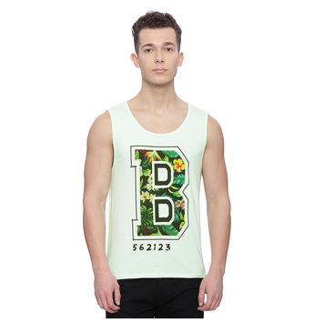 Briset Light Green Printed Slim Fit Vest, xxl,  light green
