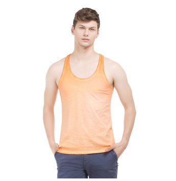 TRENT Blazing Orange Slim Fit Solid Vest,  orange, xxl
