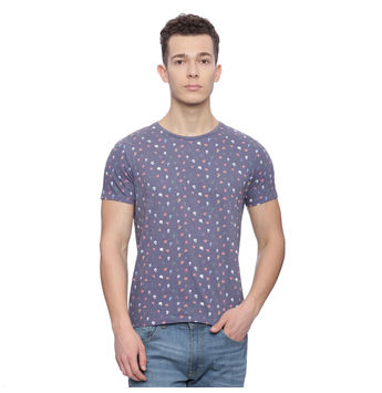 Penton Blue Printed Slim Fit T Shirt, m,  blue