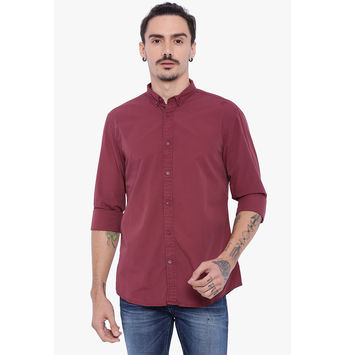 Breakbounce Cary Men's Casual Slim Fit Shirt, m,  maroon