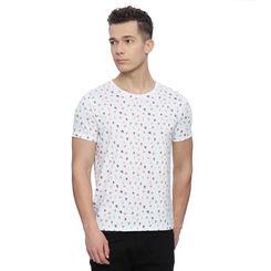 Penton White Printed Slim Fit T Shirt, l,  white