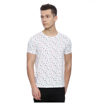 Penton White Printed Slim Fit T Shirt, s,  white