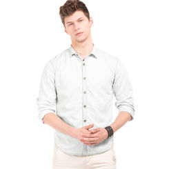 ADDISON LT BLUE Slim Fit Washed Shirt,  light blue, l