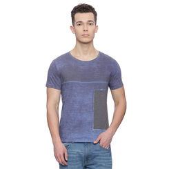 Minet Navy Printed Slim Fit T Shirt, l,  navy
