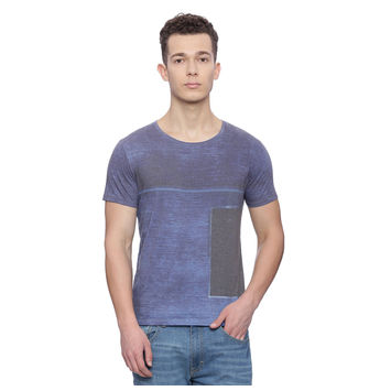Minet Navy Printed Slim Fit T Shirt, m,  navy