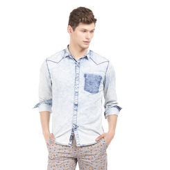 BENT INDIGO Slim Fit Washed Shirt,  indigo, l