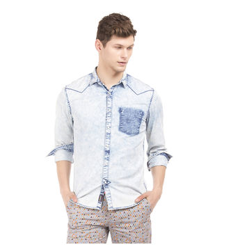 BENT INDIGO Slim Fit Washed Shirt,  indigo, xxl