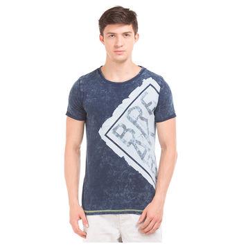 MARSH Indigo Blue Slim Fit Printed T-Shirt,  navy blue, xl