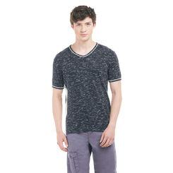 KEW Indigo Blue Regular Fit Solid T-Shirt,  red, m