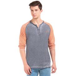 JACOB Estate Blue Regular Fit Solid T-Shirt,  navy blue, l