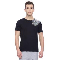 Hermit Black Printed Slim Fit T Shirt, l,  black