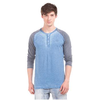 JACOB Directoire Blue Regular Fit Solid T-Shirt,  blue, s