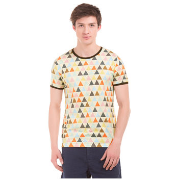 FLINT Ecru Regular Fit All Over Print T-Shirt,  off white, s