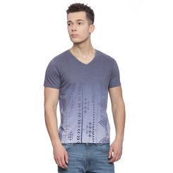 Emden Blue Printed Regular Fit T Shirt, l,  blue