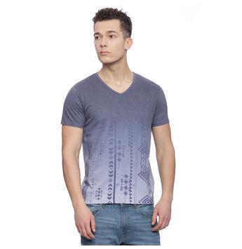 Emden Blue Printed Regular Fit T Shirt, s,  blue
