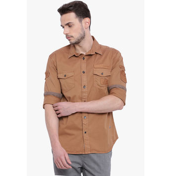 Breakbounce Clive Men's Casual Slim Fit Shirt, l,  brown