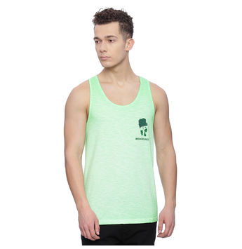 Astro Green Solid Slim Fit Vest, s,  green