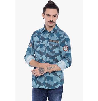 Breakbounce Austin Men's Casual Slim Fit Shirt, regular, l,  blue