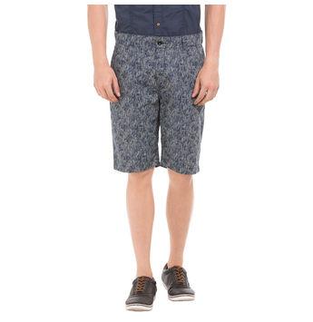 TEES Dark Blue Slim Fit Printed Shorts,  green, 38