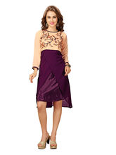 Elevate Women Fit And Flare Purple And Orange Dress (FK187), m
