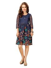 Elevate Women Fit And Flare Multicolor Dress (FK184), l