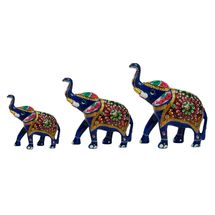 Rajasthani Meenawork Painted Elephant Statues Set of 3, regular