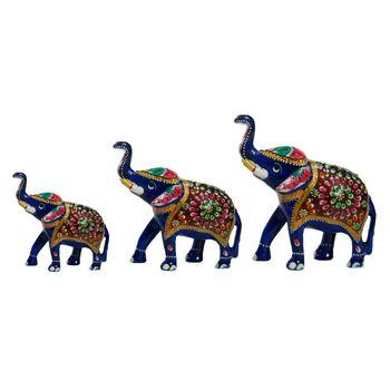 Rajasthani Meenawork Painted Elephant Statues Set of 3, regular