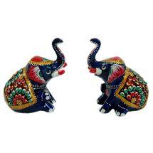 Rajasthani Appu Meenawork Painting Elephant Pair, small