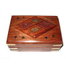 Hand Carved and Brass Inlay Work Diamond design Wooden Jewellery Box,  6/4