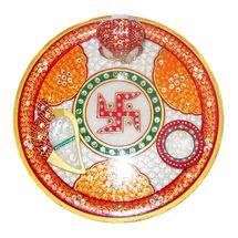 Mavellous Marble Beautifully designed Ganesha Pooja Thali with Diya and Chopra, regular