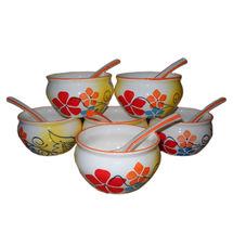 Beautiful Multicolour Flower design Soup Bowl with spoon - Set of 6 bowls, regular