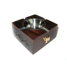 Rosewood Jaali and Brass Elephant design Inlay Work Ashtray, regular